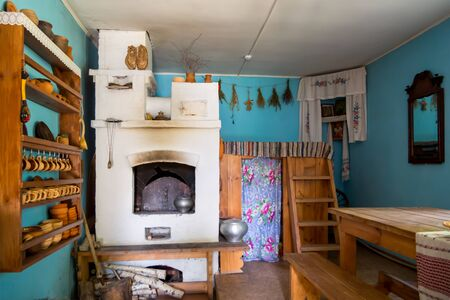 Zadonsk, Russia - August 28, 2018: Interior of an old village house, reconstruction of the Zadonsky local history museum, the city of Zadonsk
