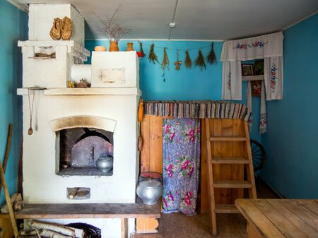 Zadonsk, Russia - August 28, 2018: Russian oven with shelves, Zadonsk Local History Museum, Zadonsk