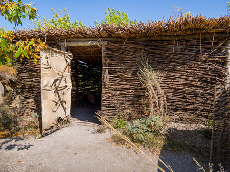 Facade of the hut made by the technology of ancient tribes