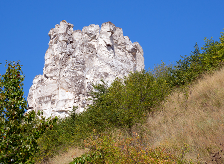 Chalk cliffs on the territory of the Divnogorsky nature reserve, Voronezh region