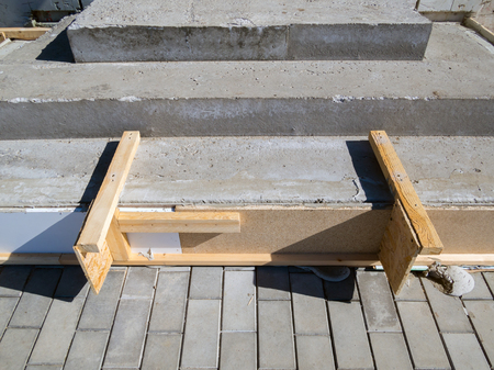 Concreting steps using homemade formwork