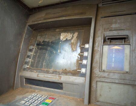 Alushta, Russia - September 13, 2018: Abandoned Cash Dispenser ATM Editöryel