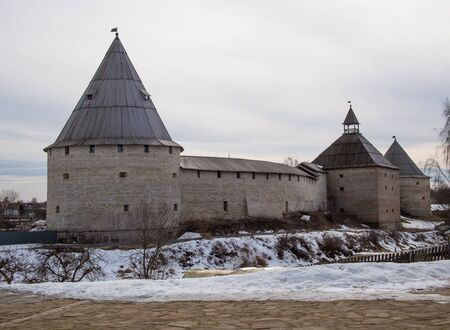 Staraya Ladoga, Russia - March 29, 2019: Staraya Ladoga Fortress, Staraya Ladoga