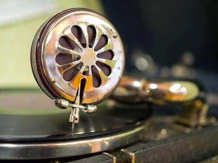 A close up vintage gramophone pickup needle
