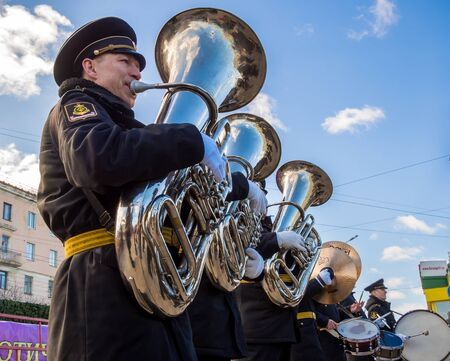 Murmansk, Russia - April 22, 2019: Trumpeters of a military band Redakční