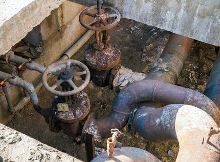 Old main taps of the city water supply system Imagens