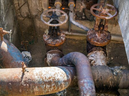 Worn valves on the main pipelines water