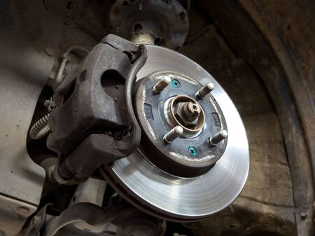 Removed wheel and disc brake of a car