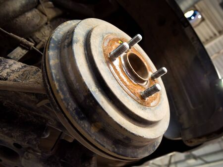 Passed wheel and brake drum of a car