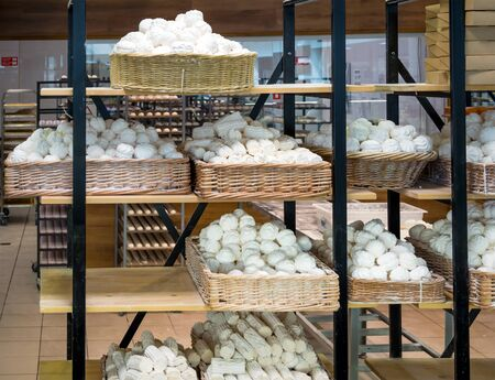 Shelves with fresh marshmallows in the factory Фото со стока