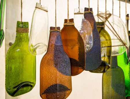 Crafts made from glass bottles after heat treatment