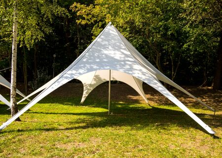 Tent tent made of light fabric stands in a clearing