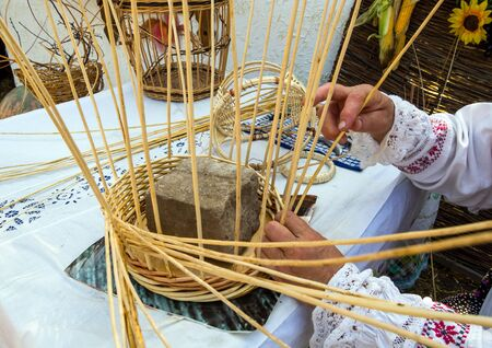 The initial stage of creating a wicker basket