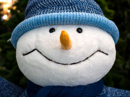 Soft toy in the shape of a loving snowman Stock Photo