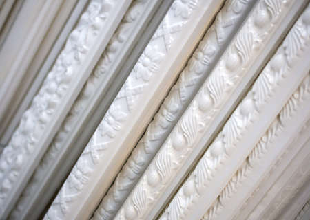 Classic patterned polyurethane skirting board stacked