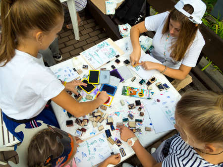 Russia, Voronezh - September 2019, 08: Master class on drawing with stamps with children