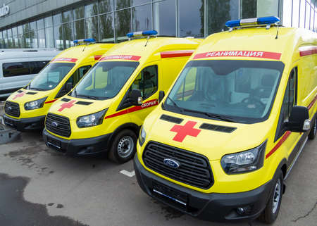 Russia, Voronezh - May 04, 2020: New medical ambulances are in row