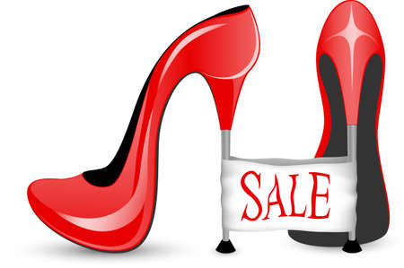 e wallet: Red shoe with high heels with label for sale