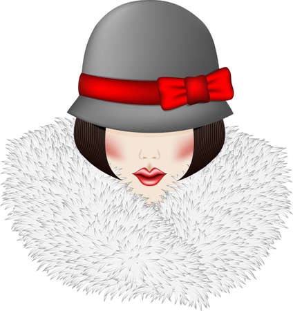 Portrait of woman dressed in vintage hat and fur collar Vector