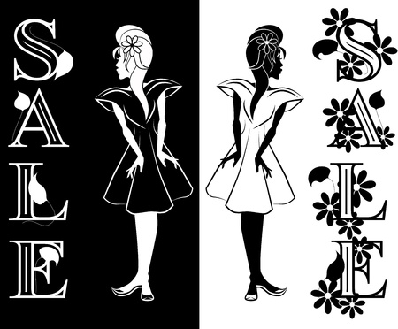 Young girl interested in Sale Drawn in black and wight  Word SALE decorated by ornate of leafs and flowers  Vector