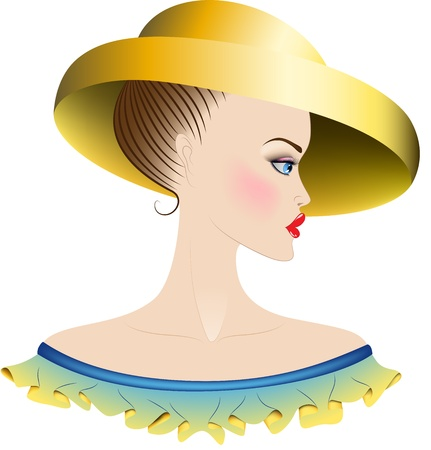 Lady with blue eyes and blush  Yellow hat with large fields  Ruffles  have a color of combination of yellow and blue Illustration