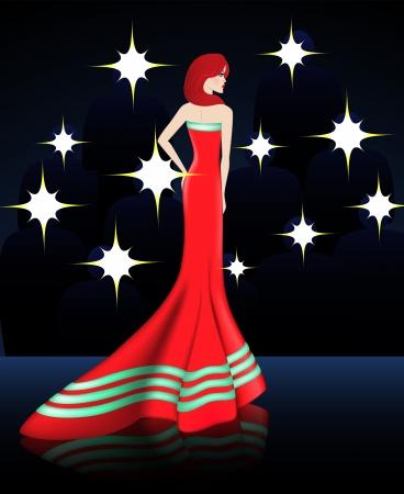 Esta señora es la celebridad Ella vestida con elegante vestido rojo con cinta Todo el mundo quiere tener una foto de ella Foto de archivo - 19474545