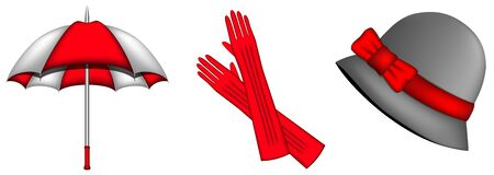 Accessories for cold seasons  red and white umbrella for rain, red gloves and hat with red bow Vector