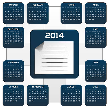 weekdays: Dark Blue Calendar For New Year