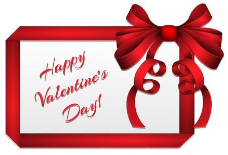 Valentine Greeting Card made by Red Ribbon Vector