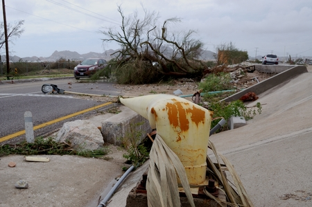 decimated: Hurricane brake a light post on the road Editorial