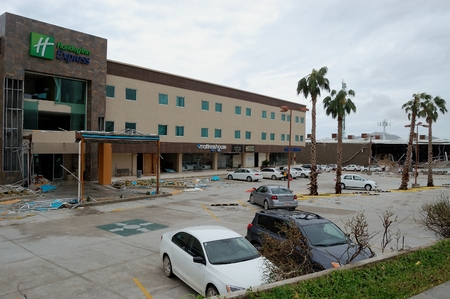 decimated: Damaged by hurricane Odile hotel Holiday Inn in Cabo San Lucas