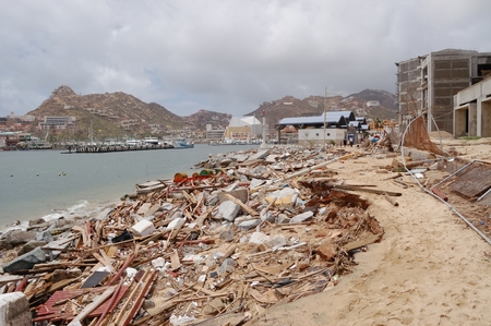 decimated: Damaged by hurricane Odile marine of Cabo San Lucas have a lot of trash