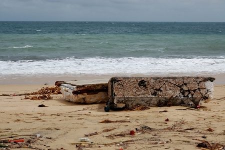 decimated: Parts of sleeps broken by hurricane Odile on Medano beach Cabo San Lucas