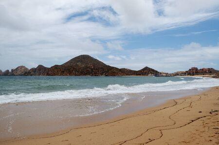 Medano beach Cabo San Lucas with view of mountains