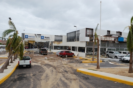 decimated: Damaged by hurricane Odile Chevrolet salon in Cabo San Lucas Editorial