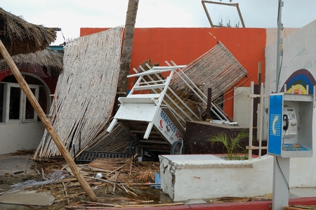decimated: Damaged little family restorant by huricane Odile Editorial