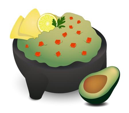 koriander: Guacamole a hagyományos mexikói molcajete két tortilla, lime, koriander és fél avokádó, a jobb oldalon.