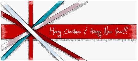 Greeting Christmas Card drawn in sketch style. Four stripes of red, light blue and light violet colors overlap each other and remind a flag of England. Vector