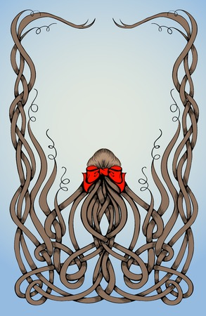 hair bow: Frame made by long curly hair with big red bow. Can be used for posters about hair, as a frame. Sketch style Illustration