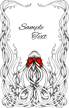 Black and white frame made by long curly hair with big red bow. Can be used for posters about hair, as a frame. Sketch style