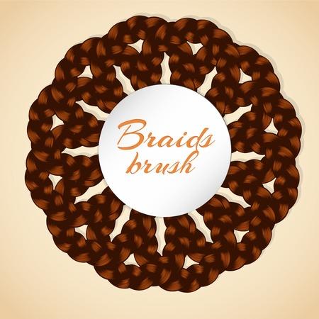 braiding: Frame made from realistic brawn braids. Document include braid brush Illustration
