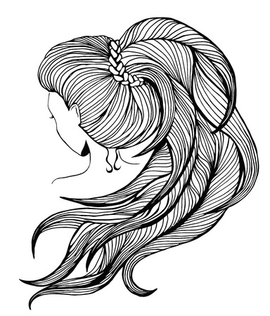 Elegant women with long ponytail. View from the back. Line art.