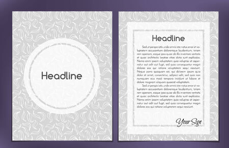 One-column double sided vector leaflet, brochure, cover layout template with leaf pattern