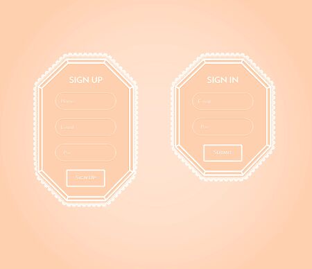 Romantic Sign Up and Sign In forms with laces. Flat style Vector