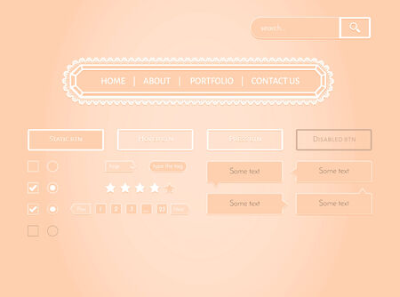 Romantic UI. Navigation panel, buttons, pagination, tooltips included Illustration