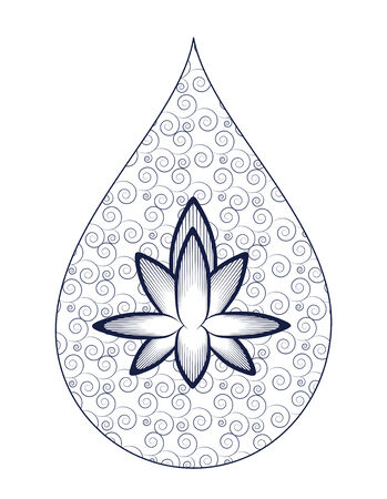 White and blue wavy pattern with lotus-shaped drops of water Vector