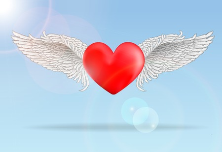 Realistic red flaying heart with white wings in bright sunny day