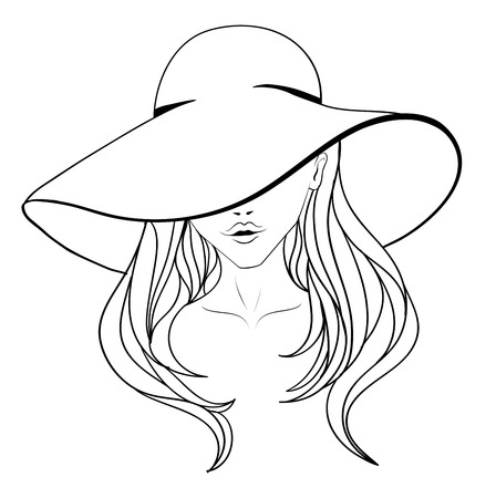 Young girl in a vintage hat with large fields and long hair. Line art. Illustration