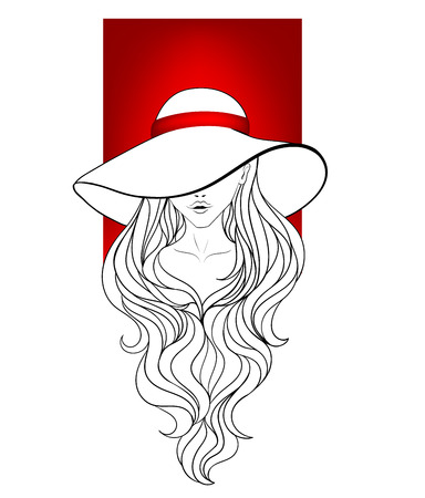 long red hair: Young girl in a vintage hat with large fields, red ribbon and long hair