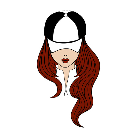 red hair: Lady with long red hair wearing sweatshirt and baseball cap. Line art